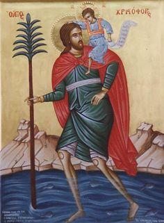 Traditional Orthodox Icons, Hand written Icon by Iconographer Randa Azar. Authentic gold leaf Using Natural pigments with ancient medium egg tempera technique, Varnished with olifa Saint Christopher, Orthodox Icons, Byzantine, Medieval, Mystery, Bible, Princess Zelda, Gallery, Fictional Characters