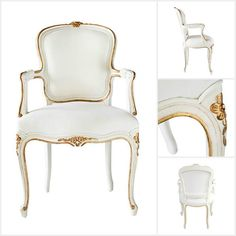 Get ahead of the curve with gorgeous seating! Ave Home's Regent Side Chair is a hand crafted Louis XV style chair. Highlighted by gilded accents, the French Antique White finish has a delicate, light patina.