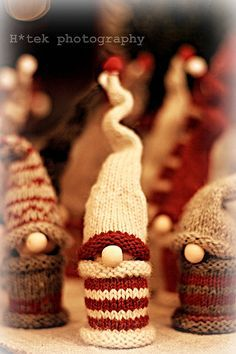 Free pattern on Ravelry: Gnomes! http://www.ravelry.com/projects/yorkiegirl/gnomes Would make cute Christmas Tree decorations!