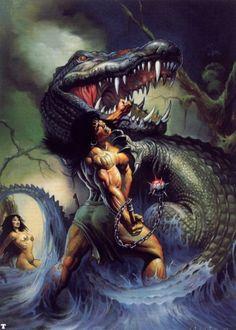 Conan - Jaws of Death - Ken Kelly Dark Fantasy Art, Fantasy Artwork, Red Sonja, Arte Horror, Horror Art, Conan The Barbarian, Sword And Sorcery, Pulp Art, Comic Books Art
