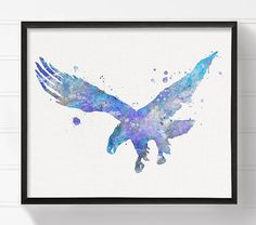 High quality print of my original watercolor artwork Blue Eagle.  Professionally printed on heavy weight (230 g. 9-5 mil), acid-free, high quality