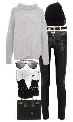 """""""Inspired outfit with leather pants"""" by pagesbyhayley ❤ liked on Polyvore featuring Prada Sport, ASOS, Yves Saint Laurent, TIBI and See by Chloé"""
