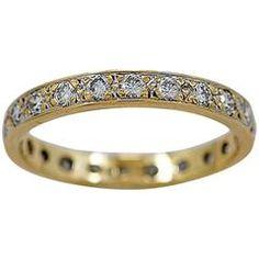 1.00 Carats Diamonds Gold Eternity Band Ring
