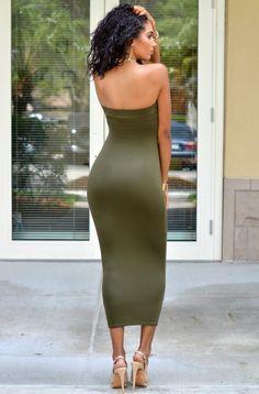 Mandi Olive Green Strapless Maxi Dress