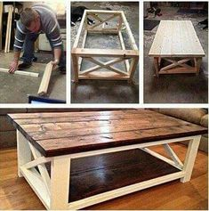Ideas How To Make A Coffee Table Using DIY Coffee Table Plans Coffee table made easy! The post Ideas How To Make A Coffee Table Using DIY Coffee Table Plans appeared first on Pallet Diy. Diy Coffee Table Plans, X Coffee Table, Rustic Coffee Tables, Rustic Table, Country Coffee Table, Wood Table, Rustic Wood, Rustic Kitchen, Diy Kitchen
