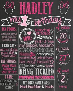 Minnie Mouse First Birthday Chalkboard Poster by PersonalizedChalk, $34.00