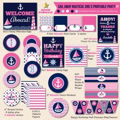Sail Away Nautical Girl's Birthday - DIY Printable Party Pack