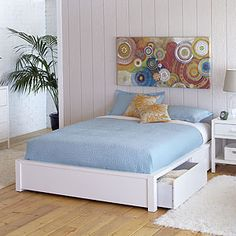 White queen bedframe with 6 drawers and headboard with