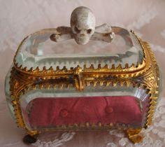 Antique Memento Mori Vanitas 19th Century Carved Skull & Crossbones in Beveled Glass and Ormolu Coffin Box  Cabinet of Curiosites