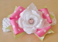 rose hair bow...pink and lime hairbow with white rose.