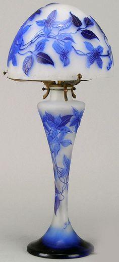 Gallé - Lampe 'Clématites' - Pâte de Verre. ㊙️More Like This At FOSTERGINGER @ Pinterest