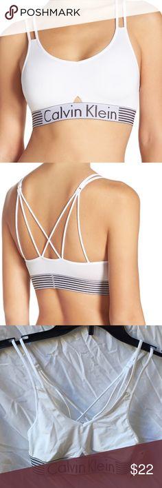 8d5a1f38f4 NWT Calvin Klein micro bralette S P Calvin Klein Iron strength micro  bralette in white