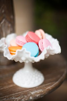 """colorful macarons in a fenton """"hobnail"""" milk glass double crimped footed compote   1948-2012   #vintage #milkglass"""