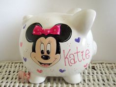 Personalized Hand Painted Minnie Mouse Piggy by thepaintedpiggy, $30.00