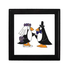 Funny Penguin Bride and Groom Wedding Cartoon Jewelry Boxes #weddings #penguins #funny And www.zazzle.com/allsmilesweddings*