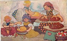 dutch vintage post card illustration - children baking easter breads