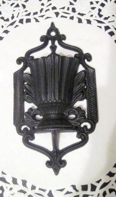 Black Cast Iron Match Wall Holder Pat Jan 15 1857 JW 220U