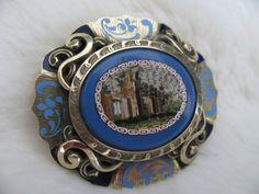 Stunning 19th Century 12CT Gold Enamel Italian Ruins Micro Mosaic Locket Brooch