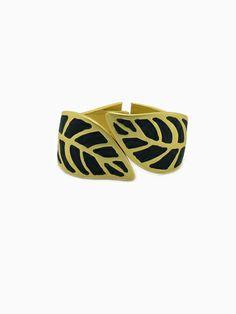 Double Leaf Black Gold Bracelet | Choies
