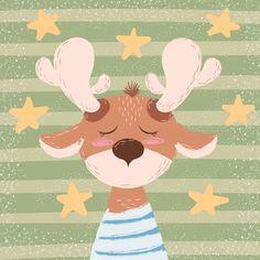 Cartoon funny deer character Cartoon Cartoon, Cartoon Drawings, Deer Drawing Easy, Easy Drawings, Deer Illustration, Christmas Illustration, Illustrations, Decoration Creche, Funny Deer