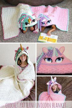 Unicorn hooded blanket pattern- too cute  #crochet #crochetpattern #pattern #unicorn #unicorngift #giftidea #birthdaygift #unicorns #blanket #crochetblanket #crocheting