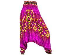 Women's Colorful Thai Harem Pants by AsianCraftShop on Etsy, Thai Harem Pants, Aladin pants, baggy pants, yoga pants, Trousers, Bohemian pants, Gypsy pants, Hippie pants, Genie pants, Aladdin pants, Boho pants, Smock, Jumpsuit