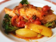 Salmon with Peppers, Broccoli, and Potatoes: 4/15/13