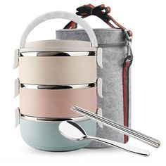 Dakai 3 Tier Stainless Steel Thermal Lunch Bento Box with Tableware Set, Stackable Insulated Bento Box Food Container with Lunch Bag for Kids, Adults, Women, Men (Round) Adult Lunch Box, Insulated Lunch Box, Snack Recipes, Snacks, Lunch To Go, Chopsticks, Food Storage Containers, Bento Box, Stainless Steel