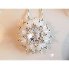 Crystal pendant Necklace, 12mm clear crystals rivoli, peyote stitch,... (€38) ❤ liked on Polyvore featuring jewelry, necklaces, clear necklace, clear pendant necklace, crystal jewellery, chains jewelry and crystal stone necklace