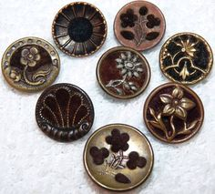 8 Antique Small Victorian Perfume Brass Buttons