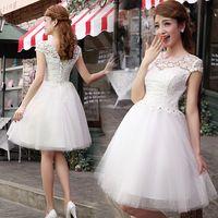 2015 New Elegant Short Design Sweet Princess Skirt Knee Length Lace Graduation Dress