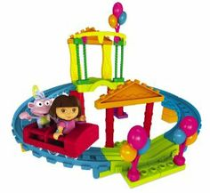 Mega Bloks Dora Roller Coaster Adventure by Megabloks. $99.95. Fun on its own or combine with other Dora characters and playsets to further build and collect your World of Dora The Explorer by Mega Bloks!. Includes Dora figurine and Boots the Monkey. Includes rebuildable elevated track and coaster car that Dora and Boots can really ride in. Includes fair balloons, fair pillars and frames. From the Manufacturer                Explore with Dora and celebrate her ...