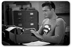 """""""Oops, I forgot to change into my Clark Kent outfit."""" George Reeves as Superman, George Reeves, Writing Machine, Retro, Adventures Of Superman, Clark Kent, Old Tv, Classic Tv, Public Relations, Film Movie"""