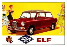 Bought this ~ Riley Elf 1960s Car Ad Illustration • Modern Postcard | eBay
