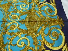Authentic Hermes 100 Silk Popular Navy Blue Scarf Les Tuileries