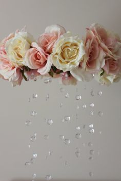 Pink And White Rose And Crystal Baby Crib Mobile