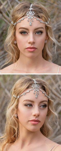 Silver Swarovski Crystal Headpiece, Art Deco Bridal 1920s Headpiece Bohemian Accessories for Wedding, Bridal Hair