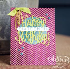 I'm joining 20+ other bloggers today celebrating our friend @kellykent and her 5 years with @stampinup - Kelly is worth celebrating and we have a huge selection of projects for you to see!  Full details on my #happybirthdaygorgeous card on the blog! #paperjoyri #papercraft #papercrafting #cardmaking #handmadecards #birthdaycard #sweetsixteen #sweet16 #lemonlimetwist #stamping #stampinup #foilfrenzy