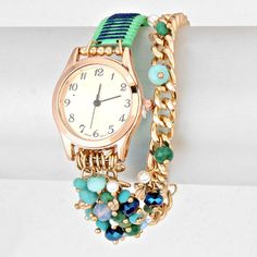 Turquoise Crystal Bracelet Watch
