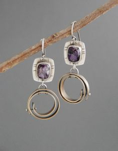 handmade earrings, mixed metal earrings, metalsmith, metalwork