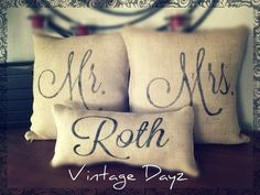Mr. & Mrs. Custom Pillow Covers with Name and Wedding Date- Burlap Pillow- Wedding Decor - Wedding Gift - Personalized Pillow