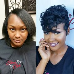 Love this transformation styled by CrysTheArtist and ✂️… Cute Hairstyles For Short Hair, Short Hair Cuts, Curly Hair Styles, Natural Hair Styles, Pixie Cuts, Sassy Haircuts, Asymmetrical Hairstyles, Short Pixie, Black Hairstyles