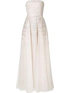 ZUHAIR MURAD Beaded Strapless Tulle Gown. #zuhairmurad #cloth #gown