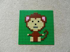 Nursery animal art, Jungle animal art, Kids room picture, lego mosaic Monkey Pictures, Lego Pictures, Room Pictures, Lego Film, Lego Faces, Lego Animals, Lego Craft, Lego Blocks, Lego For Kids