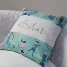 Peter Pan 'You Can Fly' Cushion by Tuppenny House Designs, the perfect gift for Explore more unique gifts in our curated marketplace. Personalised Cushions, Embroidered Cushions, Gender Neutral, Peter Pan, Little Boys, Bed Pillows, House Design, Unisex, Handmade Gifts