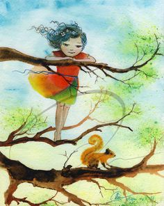 Finding Freedom - art print girls room decor little girl climbing tree squirrel child wishes red dress watercolor painting Oladesign 5x7