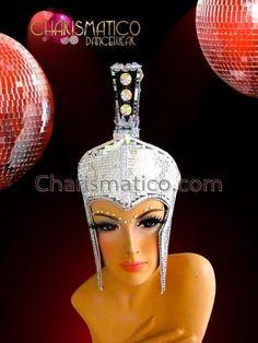 Small featherless silver mirror tiled roman military Mohawk showgirl s  headdress afffe7c0f