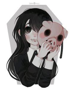 Yula G by DrawKill on DeviantArt Creepy Drawings, Dark Drawings, Creepy Art, Cute Drawings, Doodles Kawaii, Kawaii Art, Cartoon Art Styles, Cute Art Styles, Dark Fantasy Art