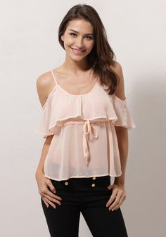 Pink is a girl's best friend and so is this top. Update your casual look with style with this pink cutout ruffle top. This cute top features a round neckline and an adjustable waist strap designed for your comfort. | Lookbook Store
