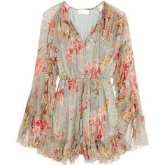 Zimmermann Mercer Floating ruffled floral-print silk-chiffon playsuit ($750) ❤ liked on Polyvore featuring jumpsuits, rompers, dresses, romper, flounce romper, zimmermann, pink romper, ruffle rompers and colorful romper